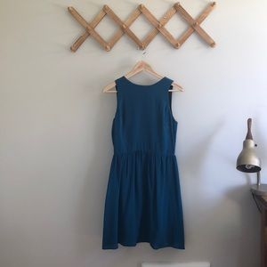 """Teal 100% Silk Dress Made in USA, """"Lavender Brown"""""""